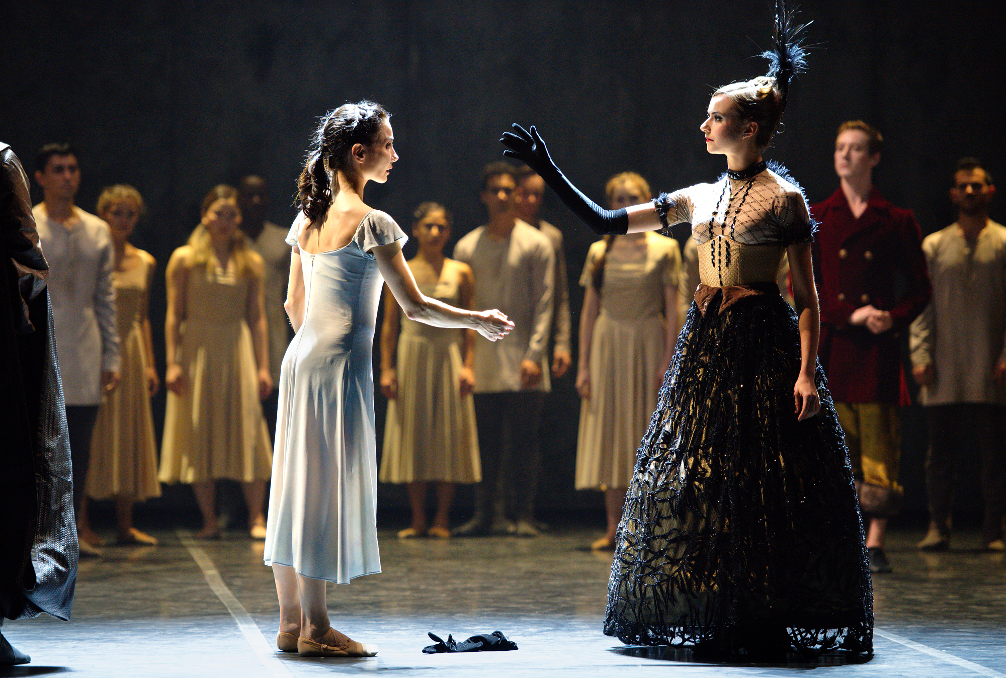 Tamara Rojo and Isabelle Brouwers in Akram Khan's Giselle (c) Laurent Liotardo
